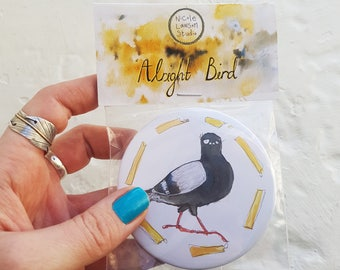 PIGEON POCKET MIRROR : Alright bird! pigeon and chips, hand mirror, bird mirror, makeup mirror, compact mirror, watercolour mirror pack.