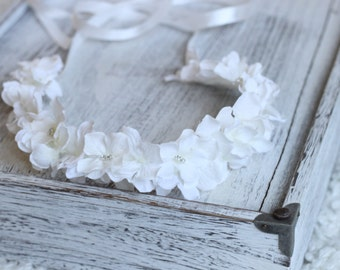 Tie back, White Hydrangea, Headband, Flower Girl, First Communion Accessories, Baptism Crown, Christening Crown