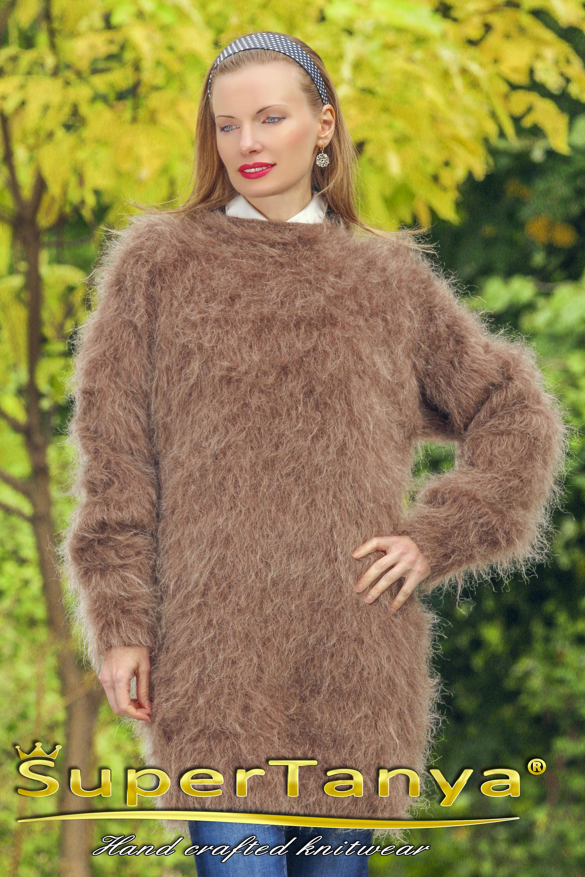 supertanya luxury brown fuzzy mohair sweater dress. Black Bedroom Furniture Sets. Home Design Ideas