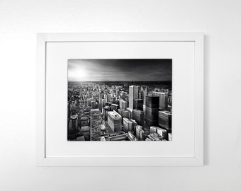 Toronto's Skyline - Iconic Toronto - Black & White Art Print with Mat, 11x14 in or 8x10 in.