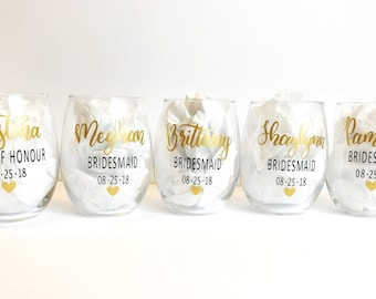 Personalized Wine Glasses - Stemless Wine Glass, Custom Wine Glass, Bridal Party Gift, Party Favour, Bridesmaid Wine Glass