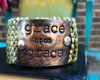 Grace Knit Green Cuff Bracelet, Neutral Jewelry, Metal Stamped Bracelet, Christian Gift for Women, Christian Bracelet