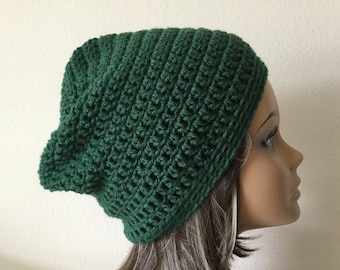Green Slouchy hat, Forest Green Slouchy Beanie,  ladies Crochet Hat, Woman 's, Teen or adult Modern slouchy, Trendy Beanie