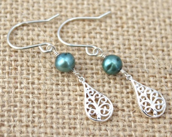 Sea Green Freshwater Pearl and Sterling Silver Filigree Teardrop Dangle Earrings / Long Slender Silver Earrings / Pearl Earrings / E103