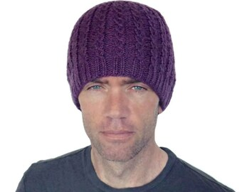 Mens Beanie Hat Taylor Cable Mans Womens Boyfriend Amethyst Purple Fitted Winter Cap Hand Knit Wool L