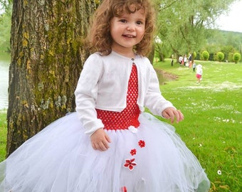 Tutu Ruby ceremony in tulle with satin flower girl dress