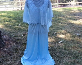 Vintage Evening Dress, Prom Dress, Sky Blue