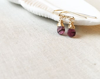 Dark Pink Tourmaline and Gold Tiny Drop Earrings - 14k Gold Fill Wire Wrapped Mauve Striped Tourmaline Gemstone Simple Unique Gift for Her