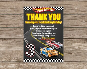 Hot Wheels Made to Match Thank You Card, Digital File, You Print