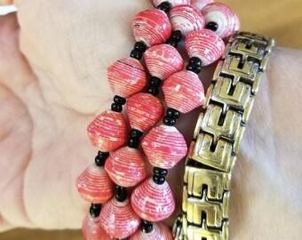 Set of 3 Red Recycled Bracelets, Uganda