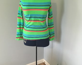 1970s Neon Striped Top Zipper Back Small/Medium