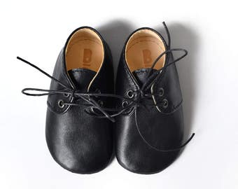 Black leather baby shoes, Baby oxfords, Handmade baby shoes, Soft sole baby shoes, Baby wedding shoes, Baby birthday shoes, Baby boy gift