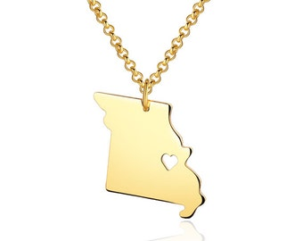 Missouri Necklace - Missouri Pendant - 18k gold plated State Necklace - State Charm - Map necklace