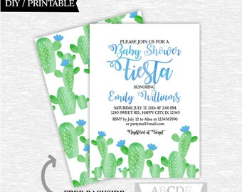 Fiesta Boy Baby Shower Invitation Cactus baby shower invitation Fiesta invitation DIY Printable (CAC002)