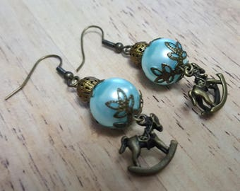 Teal rocking horse earrings, carousel horse earrings, dangle & drop earrings, bronze rocking horse, equestrian earrings, pearl earrings