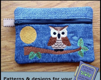 ITH Howard the Owl Zipper Bag - Fully Lined - In The Hoop Zipper Bag - Owl Zipper Bag - Embroidery Design - 5 x 7 Hoop
