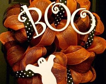 Boo Halloween Deco Mesh Wreath with Ghost