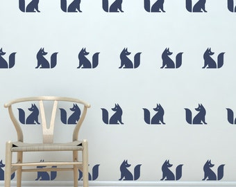 Cute Fox Silhouette vinyl decals  | Set of 20 | Make Your Own Removable Vinyl Fox Wallpaper | FREE SHIPPING