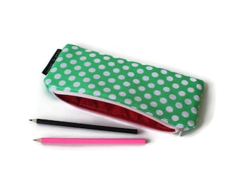 EXTRA LARGE Dots Pencil Case / Long Pencil Case / Large Pencil Pouch / Zipper Pouch / Long Zipper Pouch / Anything Pouch