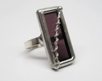 Electrical Violet - Sterling Silver Stained Glass Ring - Size 8