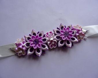 Satin Bridal belt with Kanzashi  Flowers/ Wedding Dress Sash in Purple, Orchid and Lt. Yellow/Romantic, Boho, Bohemian Bridal belt