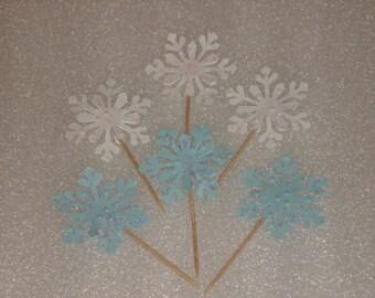 Snowflake Picks Cupcake Topper Picks for Weddings, Birthdays, Baby Showers, Birtday Parties