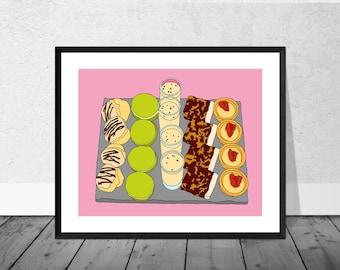 Cake Art Print, High Tea Art Print, Kitchen Illustration, Cakes, Egg Nog, Kitchen Art, Food Art Print, Decor, Kitchen Decor, Macaroons