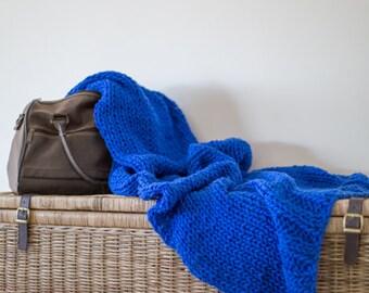 Chunky Knit 100% wool throw - Hamptons Blue