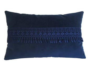 Blue Velvet w/ Teardrop Fridge Decorative Throw Pillow Cover / Pillow Case / Cushion Cover / 14x22""