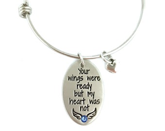 Your Wings Were Ready But My Heart Was Not - Loss Memorial Remembrance Miscarriage Bracelet - Hand Stamped Jewelry - Personalized Jewelry