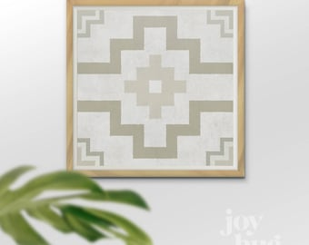 "Aztec Four Directions design downloadable print in Sand and White, 16x16"" (other sizes available)"