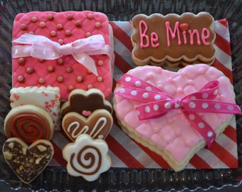 """Decorated Valentine's Day """"CHOCOLATE BOX"""" of  sugar cookies theme.  Custom Thank you tag."""