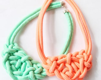 Knot Necklace, Bright Orange or Bright Mint Necklace, Statement Necklace, Sailors Knot Necklace, Nautical Necklace, Nautical Jewelry