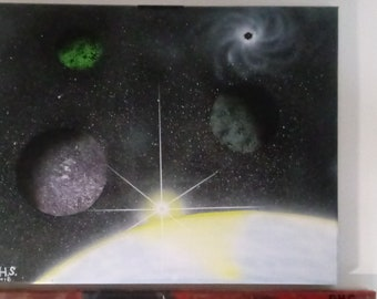Space painting, mixed media