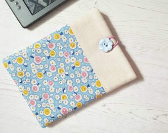 Pretty Florals on Blue 1930's Repro Fabric Kindle Sleeve, Kindle Cover, Kindle Case