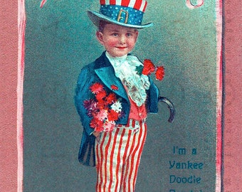Patriotic Vintage Card YANKEE Doodle DANDY Cutest Child! 4th of July Victorian Card. Fourth of July Digital Download.