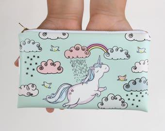 Unicorn believer Purse wallet pencil case hand bag clucth woman girl Cigarette Sunglasses Makeup cell mobile toiletry bag zipper pouch