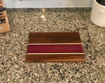 Walnut, Purple Heart & Maple Reversible Cutting Board
