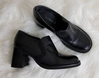 Nine West Black Leather Ankle Boots / Size 7M / 90s Grunge Shoes
