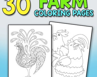 Chickens, Roosters & Hens Coloring Book for Adults: A Really Relaxing Coloring Book to Calm Down and Relieve Stress Farm Coloring Book