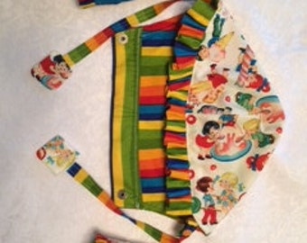 Candy Shop and Stripes hoodie hood, ruffled pads, and reach straps for y our TULA!  I have LOTS of other fabric choices!