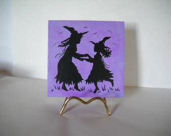 dancing witches, halloween witches, Halloween decoration, OOAK, halloween art, halloween canvas, halloween silhouette, Halloween wall décor