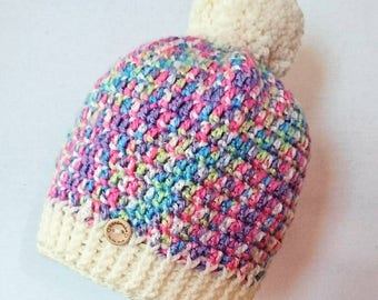 Crochet pompom hat, 1-2 years, toddler hat, kids hat, girls hat, winter wear, gifts for kids, back to school, multicolour, bobble hat