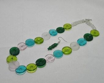 Woven Glass Disks Necklace Set