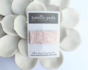 Powder Pink Glitter Snap Clip | Color Block Glitter Clip | Toddler Snap Clip | Girls Summer Hair Accessory | Pink Glitter Clip |