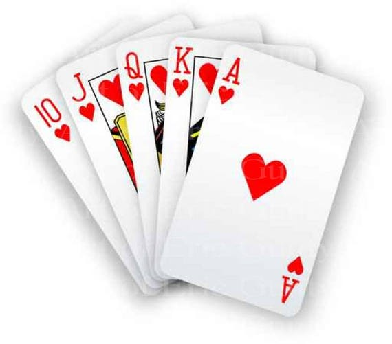 Royal Flush Hearts Casino Birthday - Edible Cake and Cupcake Topper For Birthday's and Parties! - D22941