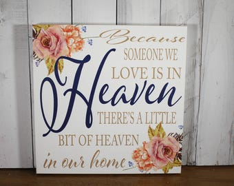 Because Someone We Love is in HEAVEN there's a little bit of Heaven in our Home-Roses-Antique Roses-Sympathy-Condolence-White-Tan-Navy