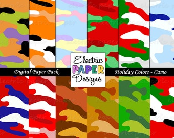 Camo Paper Pack - Fun Holiday Colors Camouflage - Digital Papers - Instant Download