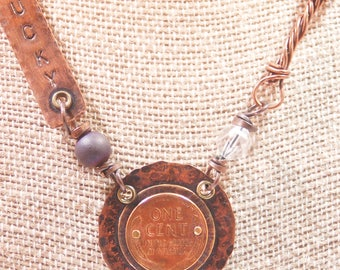 Lucky Wheat Penny OOAK Necklace