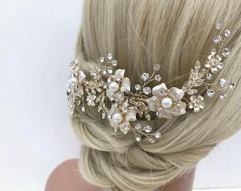 Bridal Hair Comb, Wedding Hair VIne, Flower Hair Comb, Crystal, Pearl, Crystal Hair Comb, Bridal Hairpiece
